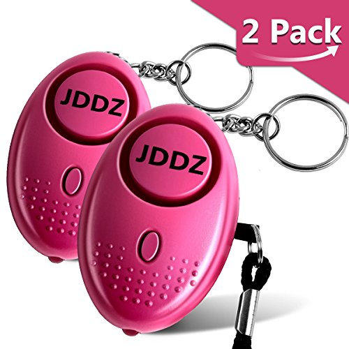 Personal Alarm, JDDZ 140 db Safe Siren Song Emergency Self Defense Protection Device Anti-Rape/Anti-Theft Security Mini LED Flashlight Women, Kids Elderly 2 Pack (Pink)