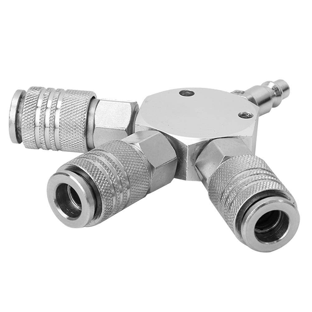 1//4  F-NPT m/últiple acoplador r/ápido para combustible 120 x 20 mm // 4,72 x 0,79 pulg. aire Manguera de aire de 3 maneras plata agua y aceite