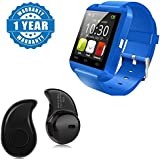 Captcha U8 Touch screen smart watch with camera and Sim card slot With Mini Stylish Invisible Bluetooth 4.0 Stereo Headset (1 Year Warranty, Random Colour)
