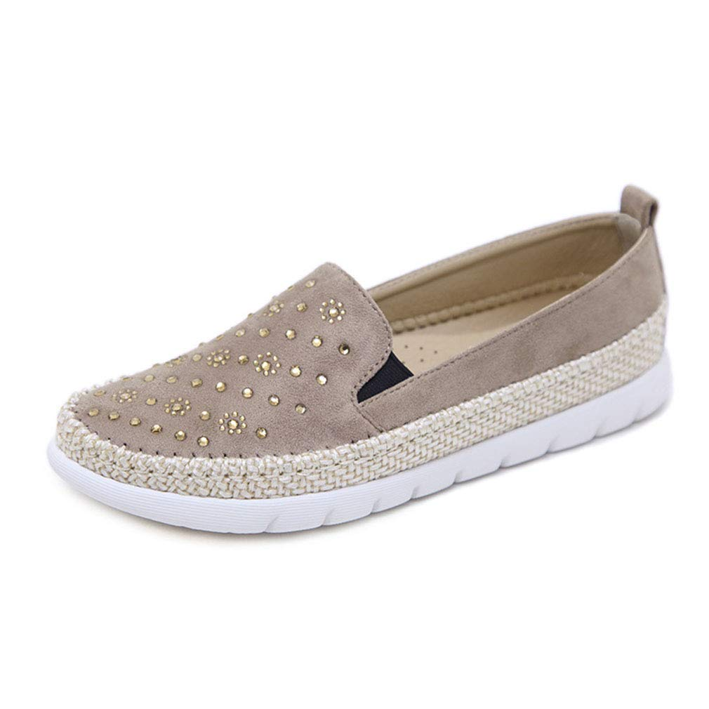 YAN damen es Casual schuhe Suede Loafers & Slip-Ons Rhinestone Hanf Rope Light and Comfortable Loafers Deck schuhe Apricot schwarz grau C 40