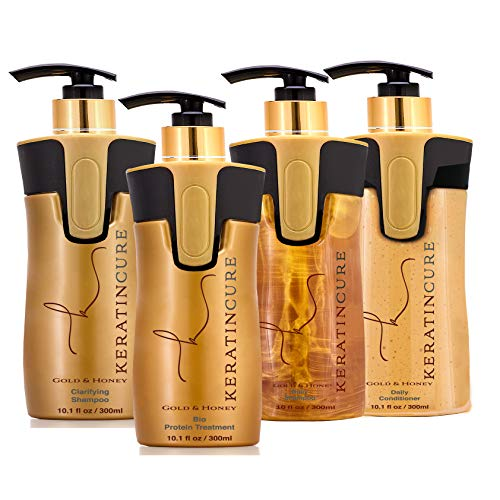 Keratin Cure Best Hair Treatment Gold and Honey Bio Protein Silky Soft 4 Piece Formaldehyde Free Complex with Argan Oil Nourishing Straightening Damaged Dry Frizzy Coarse Kit (10 oz Kit)