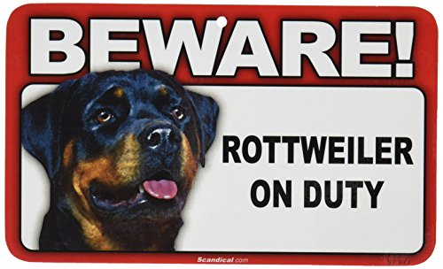 Amazoncom Beware Guard Dog On Duty Sign Rottweiler Yard Signs