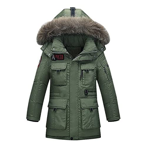discount Sweety Kids 4 Pocket Solid Color Zipped Real Fur Lined Hood Long Down Parka on sale