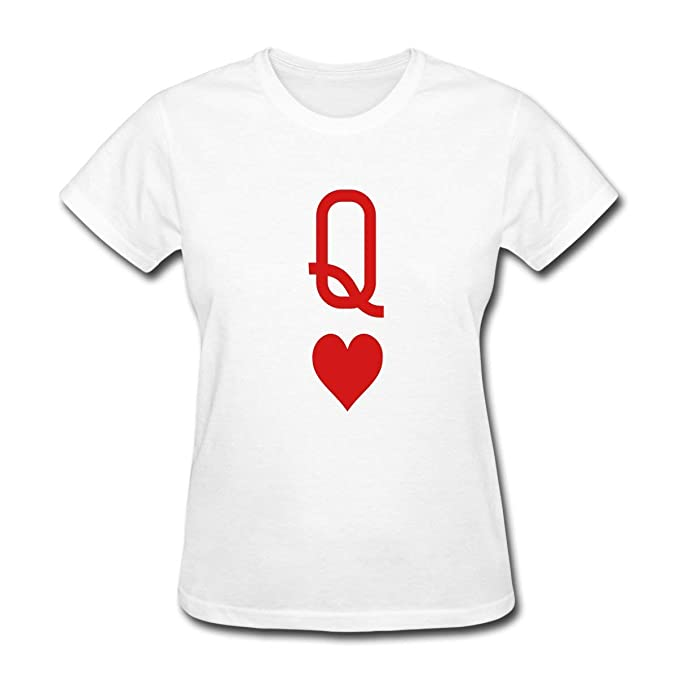 f6fc248d3 Image Unavailable. Image not available for. Color: Paiauouz Queen of Hearts  Playing Card Women's T-Shirt White