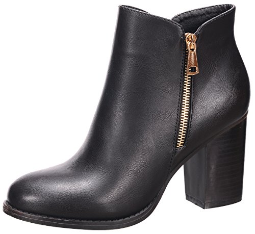 Nature Breeze Women's Closed Toe Zipper Chunky Stacked Block Heel Ankle Bootie (10 B(M) US, Black)