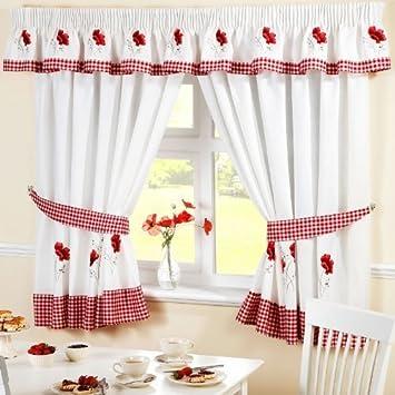 Amazonde Küchen Vorhänge Mohnblumen Gingham Bestickt Rot Weiß