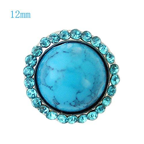 (Chunk Snap Charm Mini Petite 12mm Turquoise Stone, 1/2