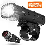 Updated 2019 Version USB Rechargeable Bike Light Set, Runtime 8+ Hours 400 Lumen Super Bright Headlight Front Lights and Back Rear LED,4 Light Mode Fits All Bicycles, Road, Mountain