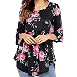 ROVLET Women Casual Floral Print 3 4 Ruffle Detailed Sleeve Tunic Tops Blouses Shirt (S-XXL,6 Colors) (Black-1, (US 8-10) Medium)