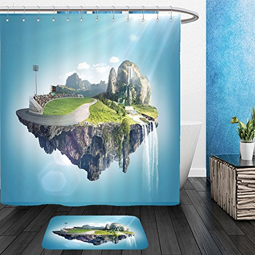 Amazing Spider Man Costume Change (Vanfan Bathroom 2?Suits 1 Shower Curtains & ?1 Floor Mats amazing fantasy scenery with floating islands water fall and field 488027020 From Bath room)
