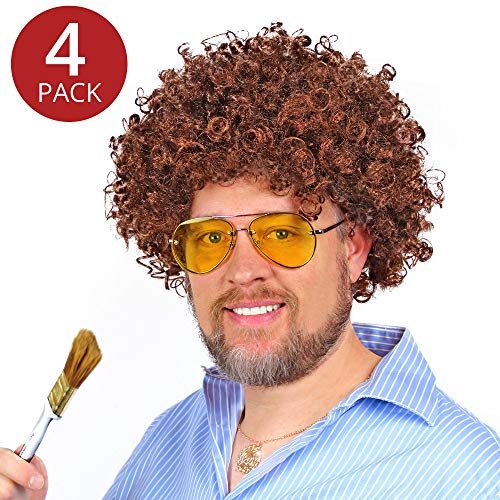 Party Curly Hair Wigs (Set of 4) - Curly Brown Wigs Synthetic Unisex for Kids, Adults, Men, or Women Funny Wigs for Dress Up and Play -