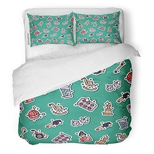 Semtomn Decor Duvet Cover Set Full/Queen Size Active Colored Old Age Pattern Activity Boogie Cartoon Character 3 Piece Brushed Microfiber Fabric Print Bedding Set Cover -