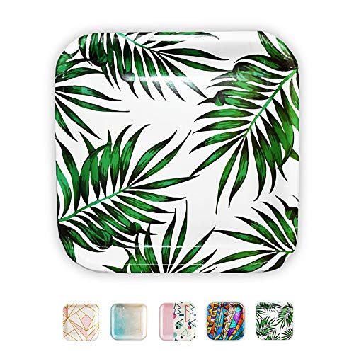 SOLAS Biodegradable Paper Plates Leaf Print - Fully Compostable Paper Plates | Beautiful Stylish Eco Friendly Disposable Green Paper Plates | Pack of 20 | 9 Inch (Green Leaf Luau Party Plates)]()