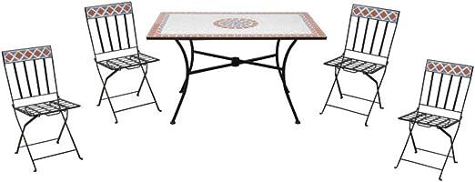 Offerte Tavoli Da Giardino In Ferro.Tavolo Da Giardino Con Quattro Sedie In Ceramica E Ferro Amazon
