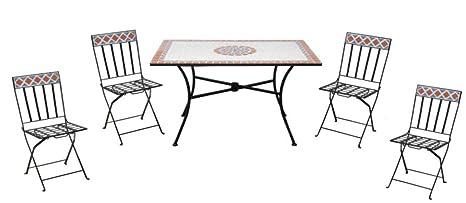 Tavoli Da Giardino Ferro E Ceramica.Tavolo Da Giardino Con Quattro Sedie In Ceramica E Ferro Amazon It