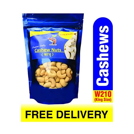 Shara's Dry Fruits W210 Cashewnuts I Cashews I Kaju (King Size), 1kg