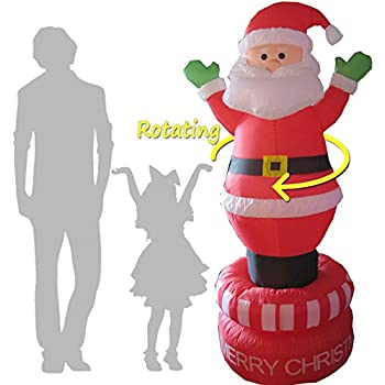 Electric Rotating 6 foot Christmas Inflatables Santa Claus Airblown Decoration for Outdoor. Giant Spinning Blow-Up Yard Decor for Xmas Party