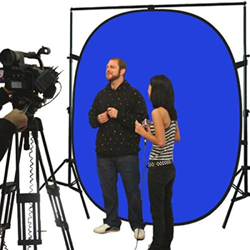Lightweight Reversible Popup Blue Green Screen Background Panel 5x7ft New