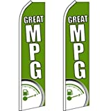 2 Swooper Flutter Feather Flag GREAT MPG Gas Meter Green White