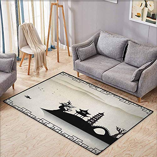 Indoor/Outdoor Rug,Ancient China,Dreary Sketch House on Hill Pagoda Pavilion Bridge Dried Trees Fisherman,Ideal Gift for Children,4'11