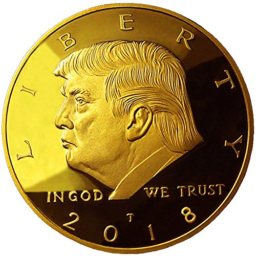 2017 and/or 2018 Donald Trump Replica Gold Piece, 45th Presidential Edition 24kt Gold Plated Commemorative Medallion, Stand & Display Case by eTradewinds (1-Pack 2018)