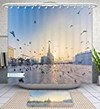 Amavam Bathroom 2-Piece Suit Flying Doves Over Fanar Qatar Islamic Cultural Center In Doha Shower Curtains And Bath Mats Set, 71'' Wx79 H & 31'' Wx20 H