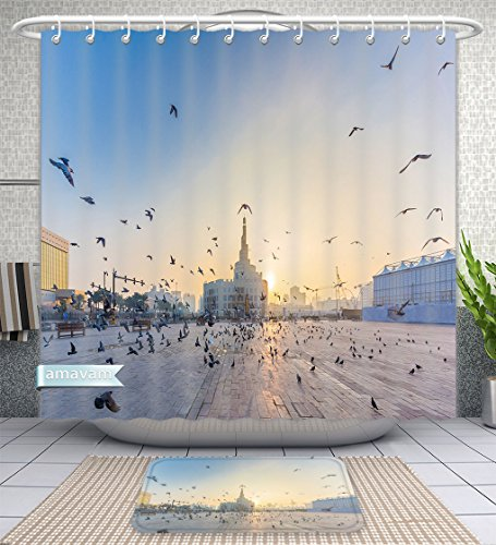 Amavam Bathroom 2-Piece Suit Flying Doves Over Fanar Qatar Islamic Cultural Center In Doha Shower Curtains And Bath Mats Set, 71'' Wx79 H & 31'' Wx20 H by Amavam