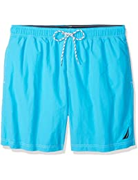 Nautica Men's Big and Tall Solid Quick Dry Logo Swim Trunk