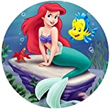 """The Little Mermaid Ariel Image Photo Sugar Frosting Icing Cake Topper Sheet Personalized Custom Customized Birthday Party - 8"""" Round - 73856"""
