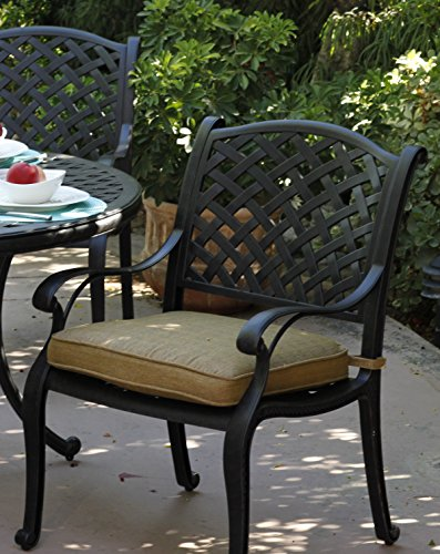 48 Inch Patio Table Cover: Darlee Nassau Cast Aluminum 5-Piece Dining Set With Seat