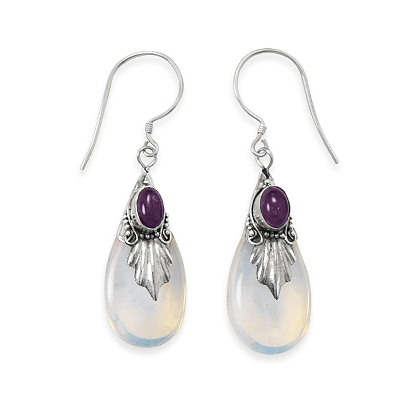 Amethyst And Blue Sea Opal Glass Drop Leaf Sterling Silver Earrings