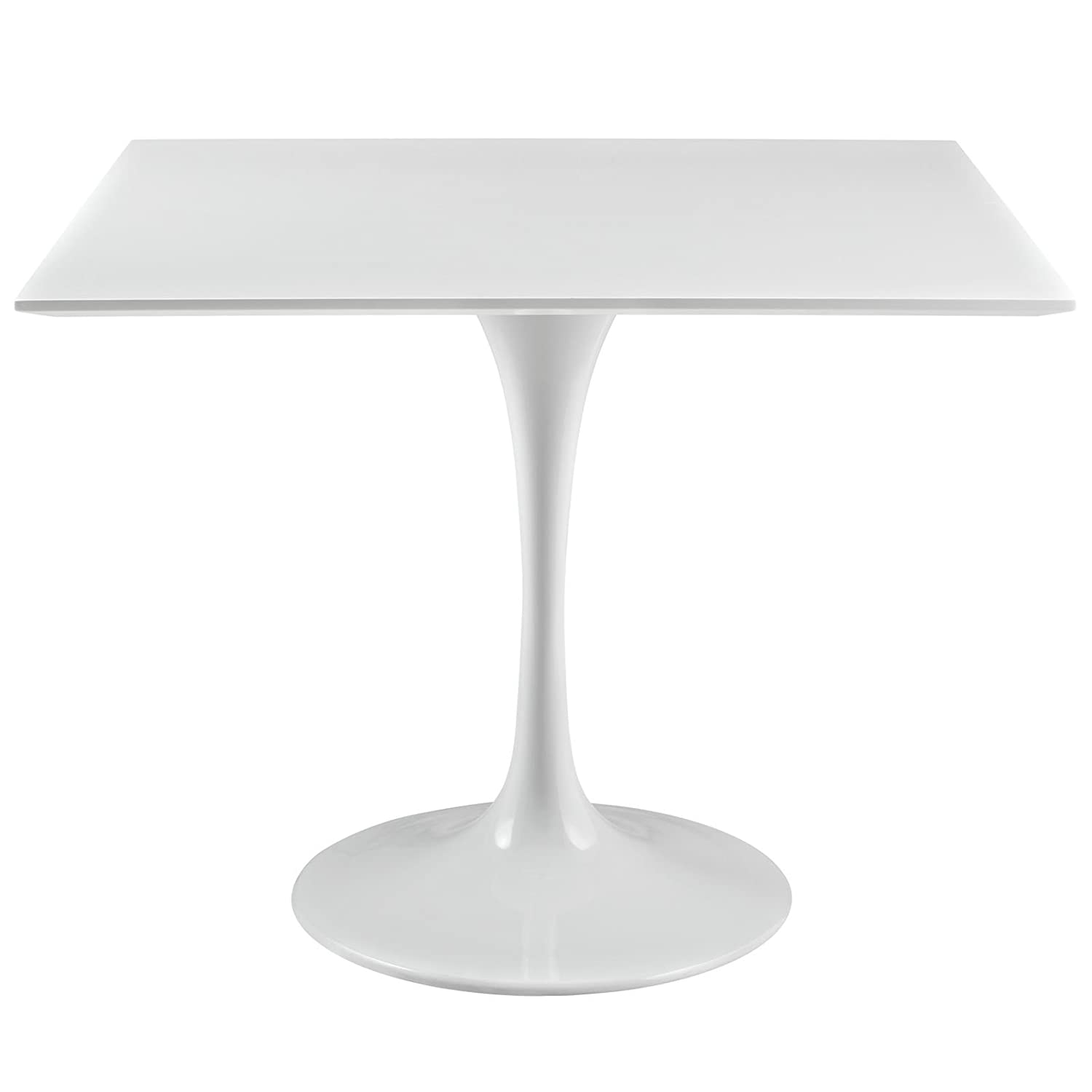 "Modway Lippa 36"" Mid-Century Modern Kitchen and Dining Table with Square Top and Pedestal Base in White"