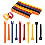 100PCS velcro cable ties | 8-inch &6-inch Velcro Straps | Multi-Purpose Hook&Loop cable management | Adjustable Multicoloured Cords Organizer for Computer/Laptop/TV/Electronics