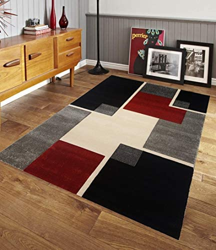 Renzo Collection Easy Clean Stain and Fade Resistant Luxury Multi Color Area Rug for Bedroom Kitchen Dining Living Room, Modern Geometric Space Design with Jute Backing Size 8 x 10 Feet