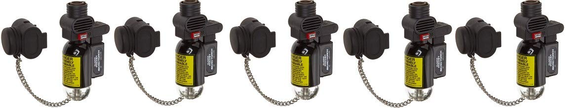 Blazer PB207CR The Torch Butane Refillable Lighter, Black (5-(Pack))