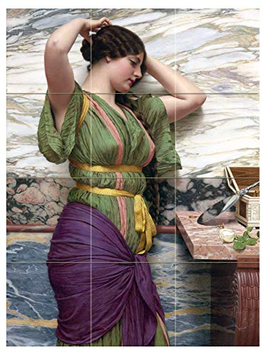 A FAIR Reflection by John William Godward Girl Woman Mirror People Tile -