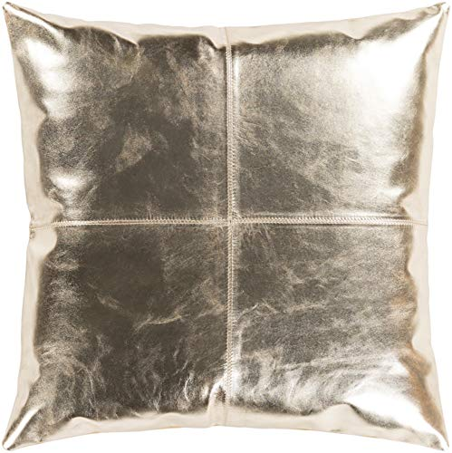 Hide Leather Fur Pillow Cover + Down Insert Square 18