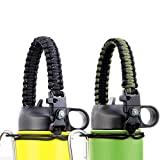 miaosun 2 Pack Paracord Handle for Hydro Flask Wide Mouth Water Bottles,Paracord Carrier Strap Cord Bottle with Safety Ring and Carabiner,Fits Most Brands 12oz to 64oz