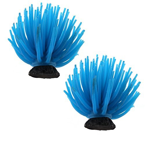 Amazon.com: eDealMax 2pcs Planta Coral silicona Inicio acuario submarino Artificial ornamento Azul del paisaje: Pet Supplies