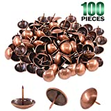 Keadic 100Pcs 1' (25mm) Antique Upholstery Tacks Furniture Nails Pins Assortment Kit for Upholstered Furniture Cork Board or DIY Projects - Rose Gold