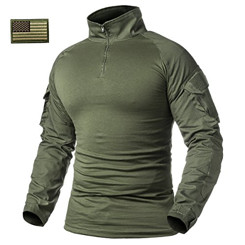 ReFire Gear Men's Military Tactical Army Combat Long Sleeve Shirt Slim Fit Camo T-Shirt with 1/4 Zipper, Army Green, US Large(Tag XXL) - Gear Green T-shirt