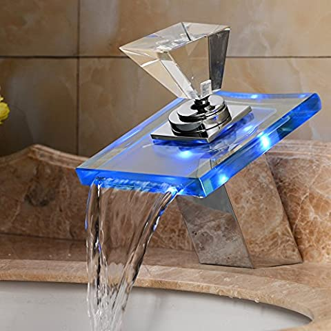 ROVATE Bathroom 3 Colors LED Glass Basin Faucet , Brass single Handle Single Hole Waterfall Deck Mounted on Sink , Polished - 3 Color Led