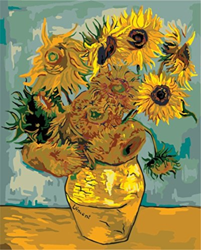 Paint by Numbers, Paint by Number DIY Oil Painting Canvas Set with Brush and Acrylic Paint, Paint by Numbers for Kids, Adults and Beginners, 16x20 [Van Gogh Sunflower Vango Go -KP046]