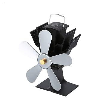 Funnyrunstore Thermal Power Chimenea Ventilador Calentador eléctrico de leña Estufa de leña Ventiladores de cinco hojas, gris: Amazon.es: Bricolaje y ...