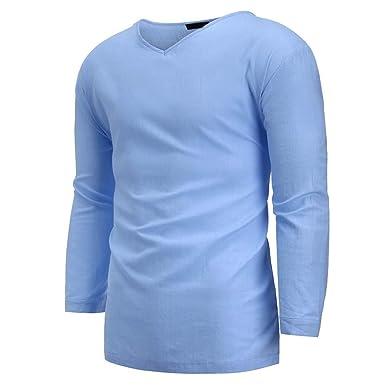 Dorical Manga Larga para Hombre Camisa Henley Blusa de Playa ...