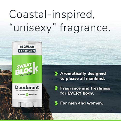 SweatBlock Deodorant Antiperspirant for Men and Women, Regular Strength, Solid (3-Pack)