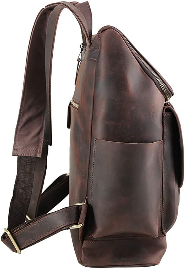 Dark Brown 40x34x14cm Business Briefcase QARYYQ One-Shoulder Travel Backpack Top Leather Luggage Outdoor Computer Bag