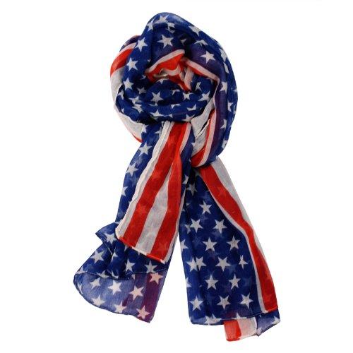 Patriotic American Team USA Flag Stars Stripes Spring Summer Scarf Oblong Blue