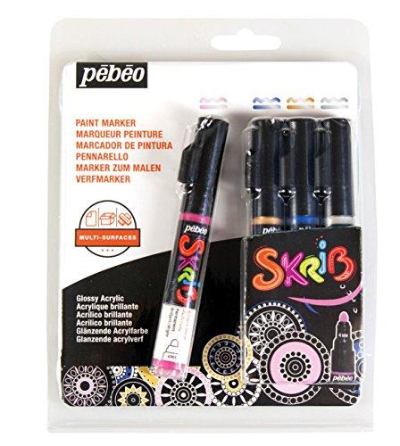 Pébéo 371107Set Skrib Paint Acrylic Paint Markers 4Multi-Coloured 18.3x 2.1x 14.3cm (Drawing Pebeo)