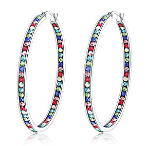 CiNily Mult-colors Crystal Stainless Steel Hoop Earring for Women Hypoallergenic Jewelry for Sensitive Ears Large Big…